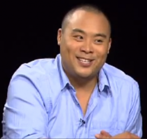 David Chang enjoying his interview with Charlie Rose
