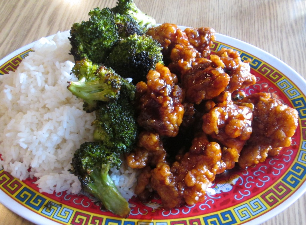 the General Tso's Chicken with Roasted Broccoli (at Brooklyn Wok Shop)