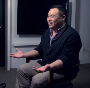 David Chang emphasizing a point with Paul Holdengraber