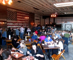 the main dining hall at Red Hook's Hometown Bar-B-Que