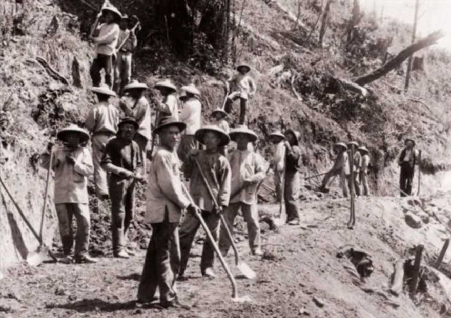 Chinese laborers working on the Transcontinental Railroad