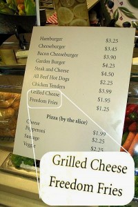 Freedom Fries listed on the menu at one of the Congressional cafeterias on The Hill (photo by Ian Everhart)