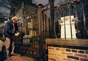 Jeff Jerome at the main gate of the Burying Ground in 2011 (photo by the AP)