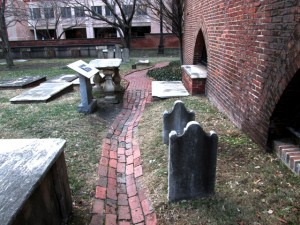 the brick path that leads from the main gate, around the side of Westminster Hall, to Poe's grave