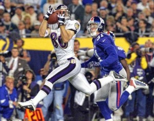 Brandon Stokley catching a touchdown pass for the Baltimore Ravens in Super Bowl XXXV
