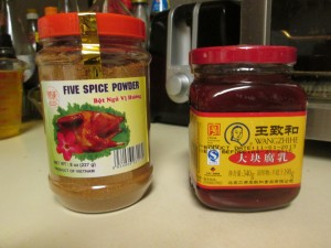 Chinese five spice powder and red fermented bean curd