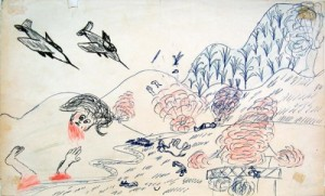 a drawing from the Legacies of War exhibition (photo from C. Khamvongsa)