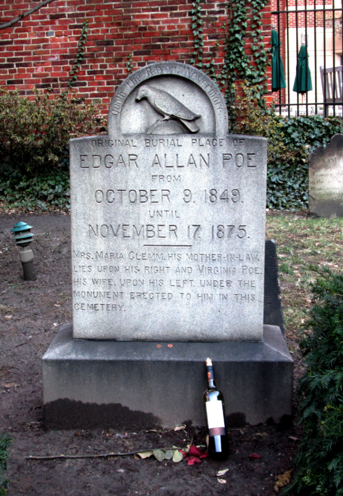 Poe's original gravesite (in the rear of the cemetery) where the Poe Toaster offered his annual toasts