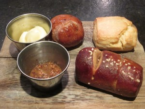 the bread board at Birch & Barley (with Pretzel Roll at bottom right)