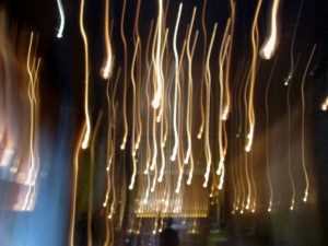 cascading lights in the main dining room