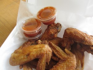 the fried chicken wings (with mumbo sauce on the side) at Henry's Soul Café