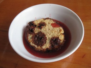 Chocolate Bread Pudding with Strawberry Sauce