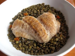 Seared Louisiana Sheepshead with Sweet & Sour Lentils