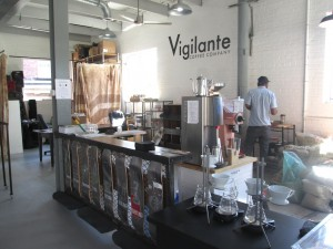 the right side of the roastery and café where the roasting and production take place