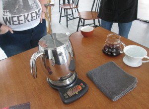 our French press coffee pot  ready to go