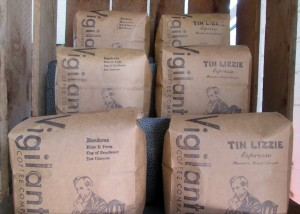 bags of Vigilante coffee on display by the front counter
